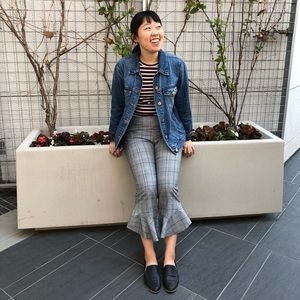 Plaid pants with ruffled flare